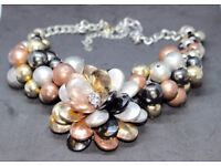 Stunning, elaborate, floral-styled, beaded necklace. Matching bracelet avail. Perfect Christmas gift