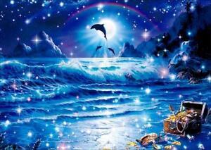 UK Dolphin Beach Full Drill 5D Diamond Painting Embroidery Cross Stitch Kit MA