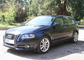 Superb 2011 Audi A3 Sport 2.0 TDi Quattro (170bhp) Sportback in pearl-effect deep sea blue