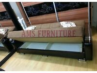 **BRAND NEW** 3 SEATER FABRIC STORAGE SOFA BED, LEATHER SETTEE WITH ARM RESTS IN BROWN/BLACK