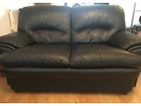 Pre loved 2&3 seater black leather sofa for sale (collection only)
