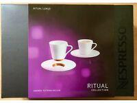 Brand New! Nespresso Ritual Porcelain Lungo Cups & Saucers