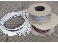 REEL OF TV CABLE 17 METERS (BROWN) & WHITE CABLE & REEL TELEPHONE CABLE (GREY)