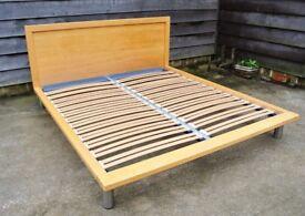 John Lewis designer beech super king bed frame with slats