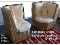 2 x Fair Trade Chairs, perfect for a conservatory