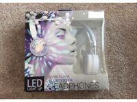 BLUETOOTH LED COLOUR FLASHING LIGHTS HEADPHONES BRAND NEW
