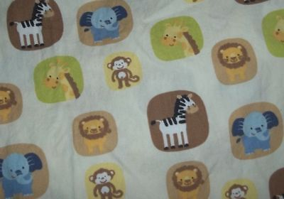 Tiddliwinks Safari Jungle Zoo Animals Fitted Crib/Toddler bed Sheet {Fabric}