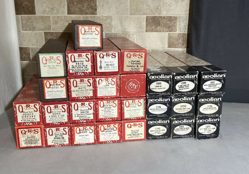 Vintage Piano Music Roll Lot Of 28 QRS Aeolian Original Boxes