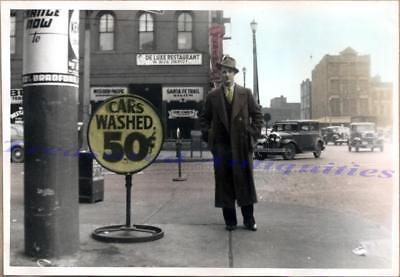 1930s St Louis Man Car Wash Sign Missouri-Pacific Santa Fe Trail Bus Depot Photo