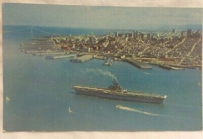 Postcard San Francisco Bay Aircraft Carrier Sailboats Aerial Birds Eye View Vtg