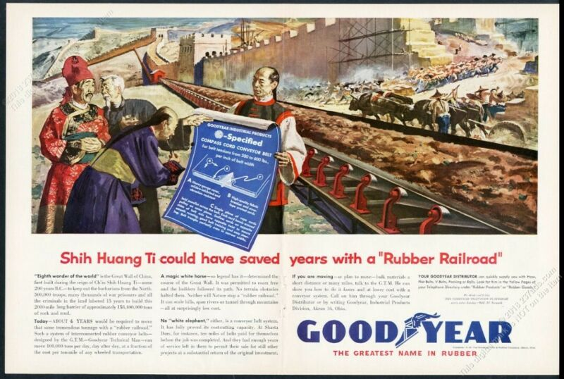 1955 Great Wall of China construction art Goodyear rubber vintage print ad
