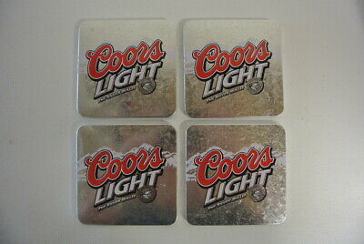 Coors Light The Silver Bullet Beer Metallic Cork Coasters - Set of 4 - Preowned Coors Light Coaster Set