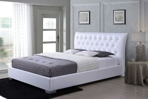 Modern Design PU Leather Bed Frame Queen Size White Springvale Greater Dandenong Preview