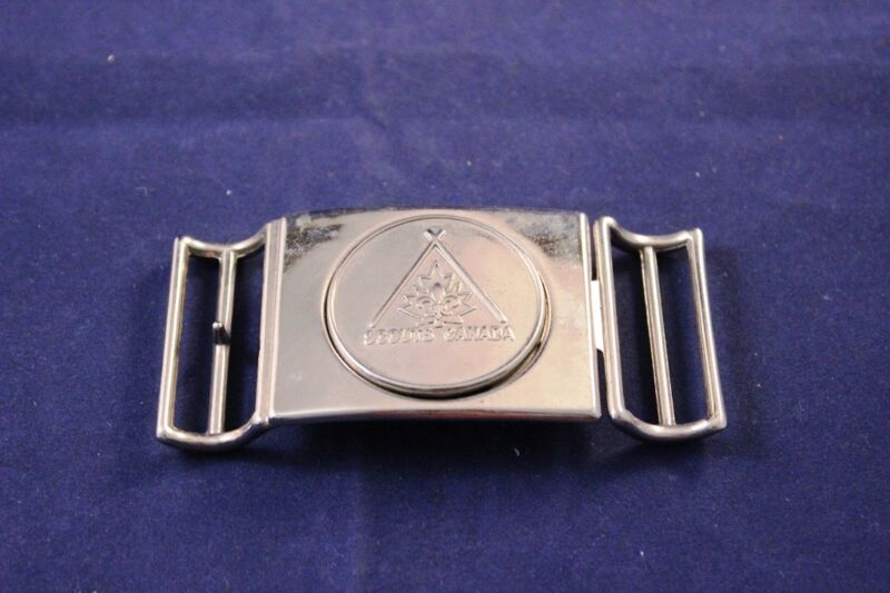 "Vintage ""Scouts Canada"" Belt Buckle 3.75"" Chrome Interlocking"