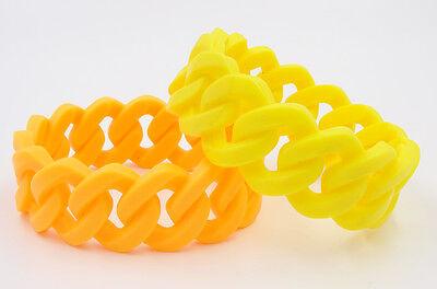 Neon Bracelets (New Set of 2 Woven Silicone Chain Bracelets Orange & Yellow)