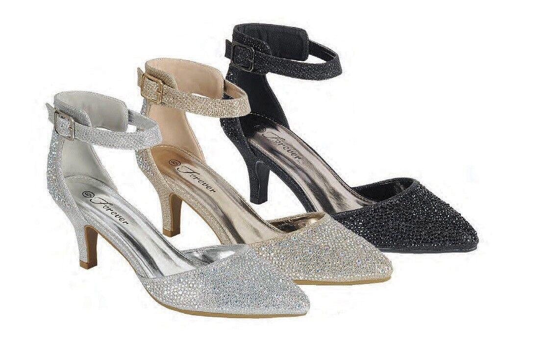 New Glitter Jeweled Rhinestone Ankle Strap Pump Sandal Shoes Med Low Kitten Heel