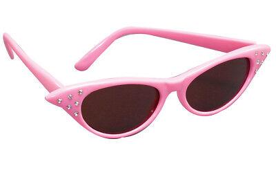 Damen 1950s Jahre pink Sonnenbrille Rock n Roll Maskenkostüm Requisit NEU