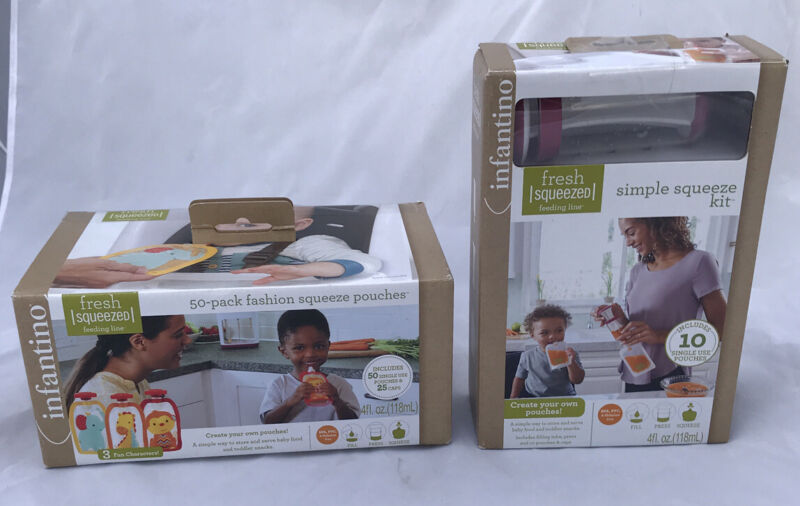 Infantino Feeding Lot - Simple Squeeze Kit + 50-Pack Fashion Squeeze Pouches