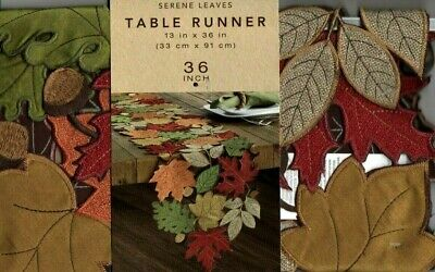 Autumn Leaves Table Runner (Serene Leaves Fall Autumn Leaf Applique Red Gold Brown Table Runner 13 x 36