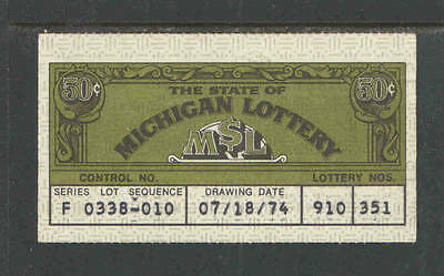 1974 Or 1975 Michigan Jackpot Lottery Ticket  0 50  50
