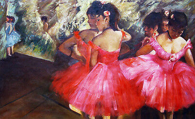 Edgar Degas repro Figures & Portraits Oil Painting - Dancers in Pink- size 36x24