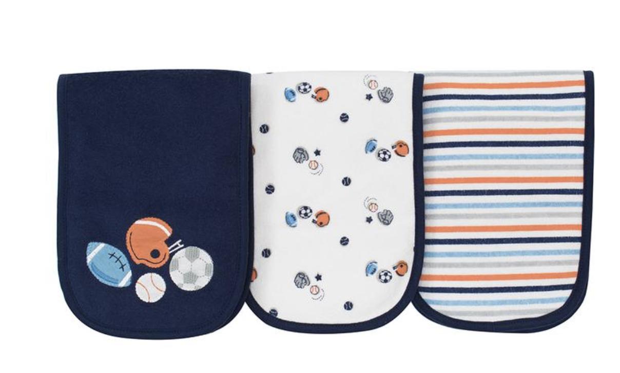 GERBER BABY BOY'S 3-Pack Terry Burp Cloths - Sports - Blue W