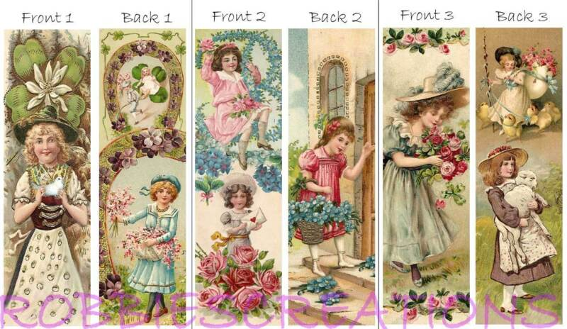 3 Vintage Style BOOKMARKS 1900 VICTORIAN Children Flowers Book Mark Card Old ART