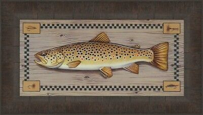 BROWN TROUT by Greg Bordignon 11x18 FRAMED PRINT PICTURE Fish Fly Fishing Lures -
