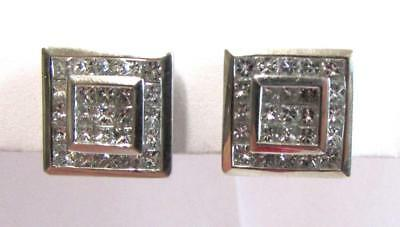 18K WHITE GOLD 1 CTTW GENUINE PRINCESS CUT DIAMOND SQUARE POST PIERCED EARRINGS