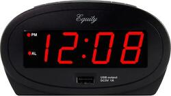 30024 Equity by La Crosse AC Powered 0.9 Red LED Display Alarm Clock USB Port