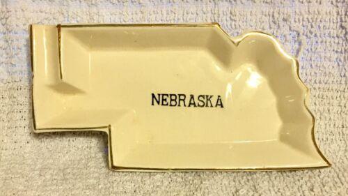 Vintage Glazed Ceramic Nebraska Souvenir Ashtray State Shaped Gold Trimmed