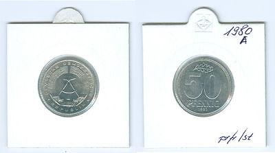 DDR  50 Pfenig 1980 A  prägefrisch bis stempelglanz