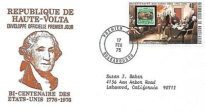 BURKINA FASO 1975 FIRST DAY COVER AMERICAN BICENTENNIAL STAMP ON STAMP