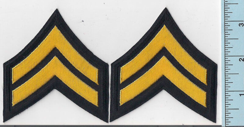 Two NEW Light Gold/Black Police Corporal Rank Patches 2-Stripe Chevrons Quality