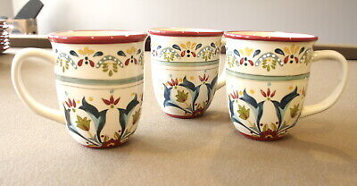 Bobby Flay Sevilla 3-Count Mugs Coffee Cups  Retired Mediterranean Pattern