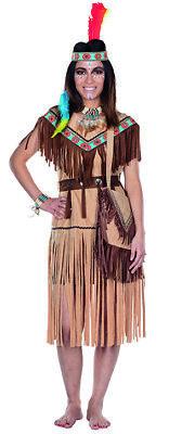 Cherokee Indianerin Kostüm kurz hellbraun Indianer Western Kleid - Cherokee Kostüme