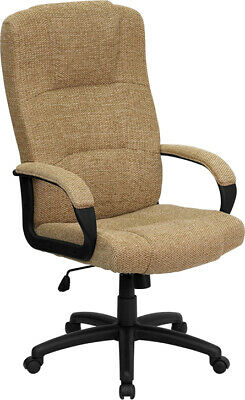 High Back Beige Fabric Executive Office Desk Chair With Arms Adjustable Height
