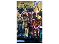Shipyards drillers. One original painting for SALE to start a budding Art collectors collection.
