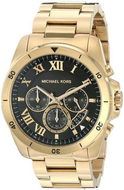 michael kors brecken black dial chronograph mens watch mk8481 men s michael kors brecken gold steel chronograph watch mk8481