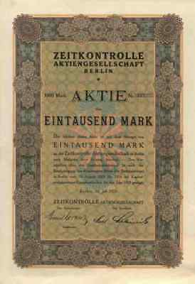 Zeitkontrolle AG 1923 Berlin SEL Lorenz Alcatel Stuttgart Gründeraktie 1000 Mark