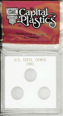 Capital Holder For Steel Cents of 1943 WW2 White Acrylic Plastic Quality Case