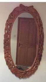 Wheat design oval wood wall mirror