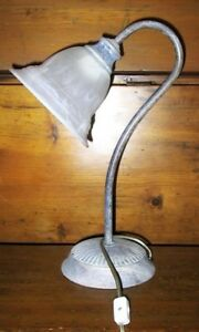 DESK LAMP - CAST ALUMINUM-ITALIAN GLASS MILANO SHADE