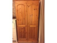 Amazing solid pine wood wardrobe with mirror and belt rack