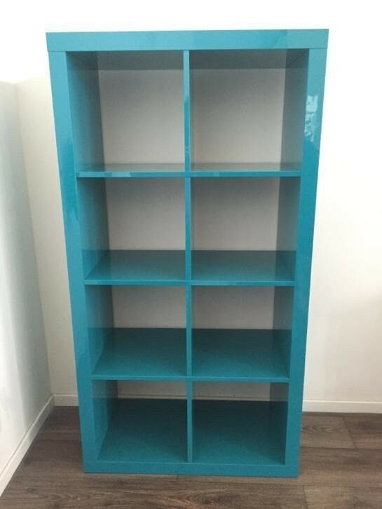 IKEA Kallax/bookcase/shelving unit . High gloss turquoise. still ...