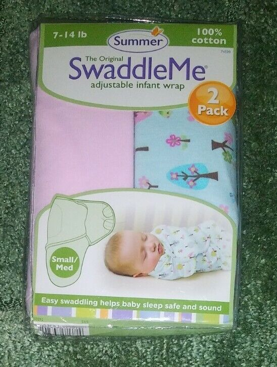 Baby SUMMER Swaddle Me ADJUSTABLE INFANT/BABY WRAP 2 PACK S/M