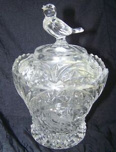 BIRD PATTERN PRESSED GLASS SUGAR WITH LID