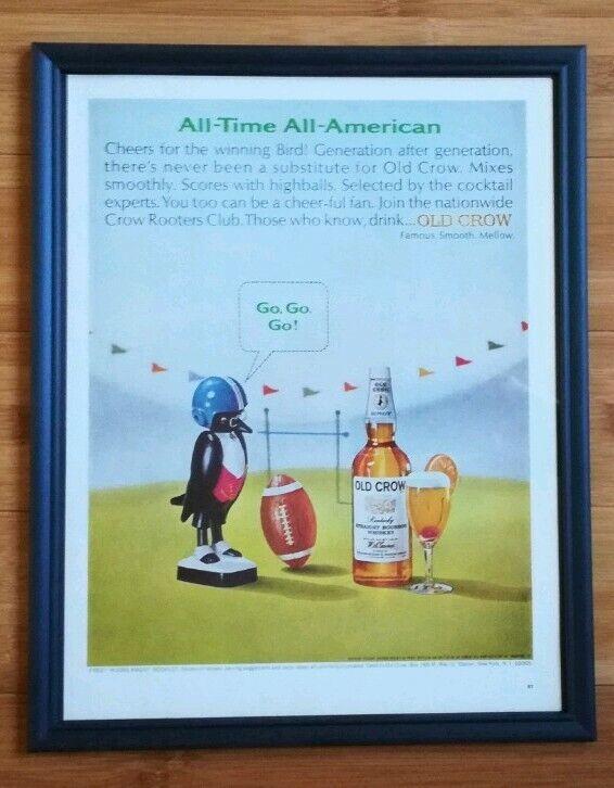Vtg Framed Original Old Crow Advertisement Football Theme Whiskey Liquor Ad 1969