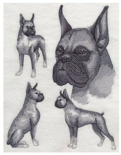 Boxer Sketch Cropped, Hand Towel, Embroidered, Custom, Personalized, Dog