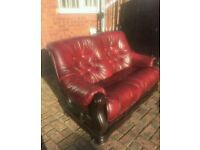 Two Seater Oxe Blood leather sofa.